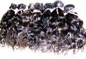 """RealHairExclusive  LETOP PRIJS =PER1BAAN Curly natuurlijk gekleurde handgemaakte weave - Kleur: Natuurlijk zwart, Lengte: 12"""" (30cm)"""