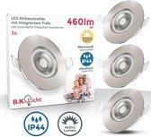 B.K.Licht - LED inbouwspots badkamer  - IP44 -  inkl 5W LED modules - spots verlichting - ultra plat 25 mm - mat nikkel - set van 3 spotjes