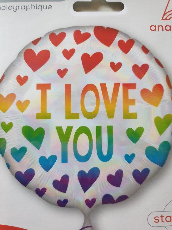 Standard Iridescent Rainbow Hearts Foil Balloon circle S55 packaged