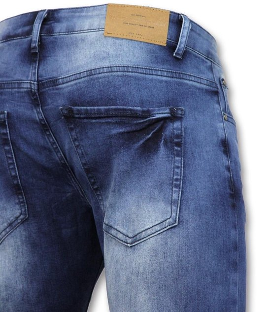 True Rise Biker Jeans Heren Met Rits - Slim Fit Zs1061 Blauw W34