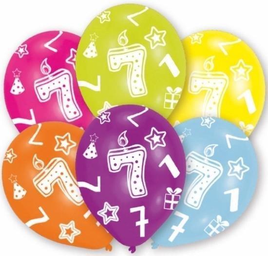 7 jaar thema leeftijd feest ballonnen 12 stuks - Leeftijd feestartikelen en versiering