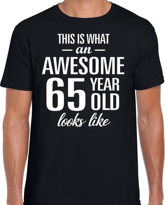 Awesome 65 year - geweldige 65 jaar cadeau t-shirt zwart heren - Verjaardag cadeau L
