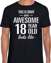 Awesome 18 year / 18 jaar cadeau t-shirt zwart heren M