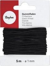 Zwart hobby band elastiek op rol van 5 meter - breedte 1 mm - Zelf kleding/mondkapjes maken