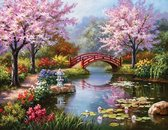 Happy Painter® Diamond Painting volwassenen - Japanse Bloesemtuin - 40x30cm