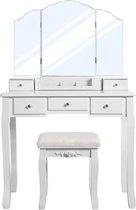 MIRA Home Make-up Tafel – Kaptafel – Elegant – Hout – Wit - 80x40x137