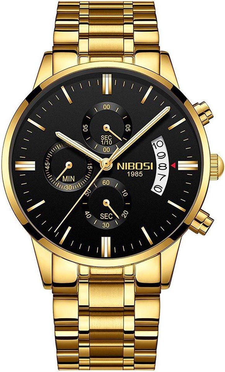 NIBOSI Horloges voor mannen - Horloge mannen   Luxe Goudkleurig Design - Heren horloge -   42 mm   G