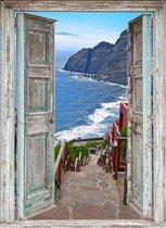 Tuindoek doorkijk openslaande deuren met trap naar strand - 95x130 cm - tuin decoratie - tuinposter - tuinposters buiten - tuinschilderij