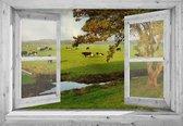 Tuindoek doorkijk door openslaand wit venster naar koeien in landschap - 130x95 cm - tuinposter - tuin decoratie - tuinposters buiten - tuinschilderij