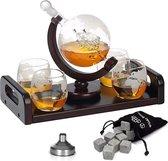 Whisiskey ® Decanteerkaraf Set Wereldbol - 0,9 L - Incl. 8 Whisky Stones, Schenktuit & 4 Glazen