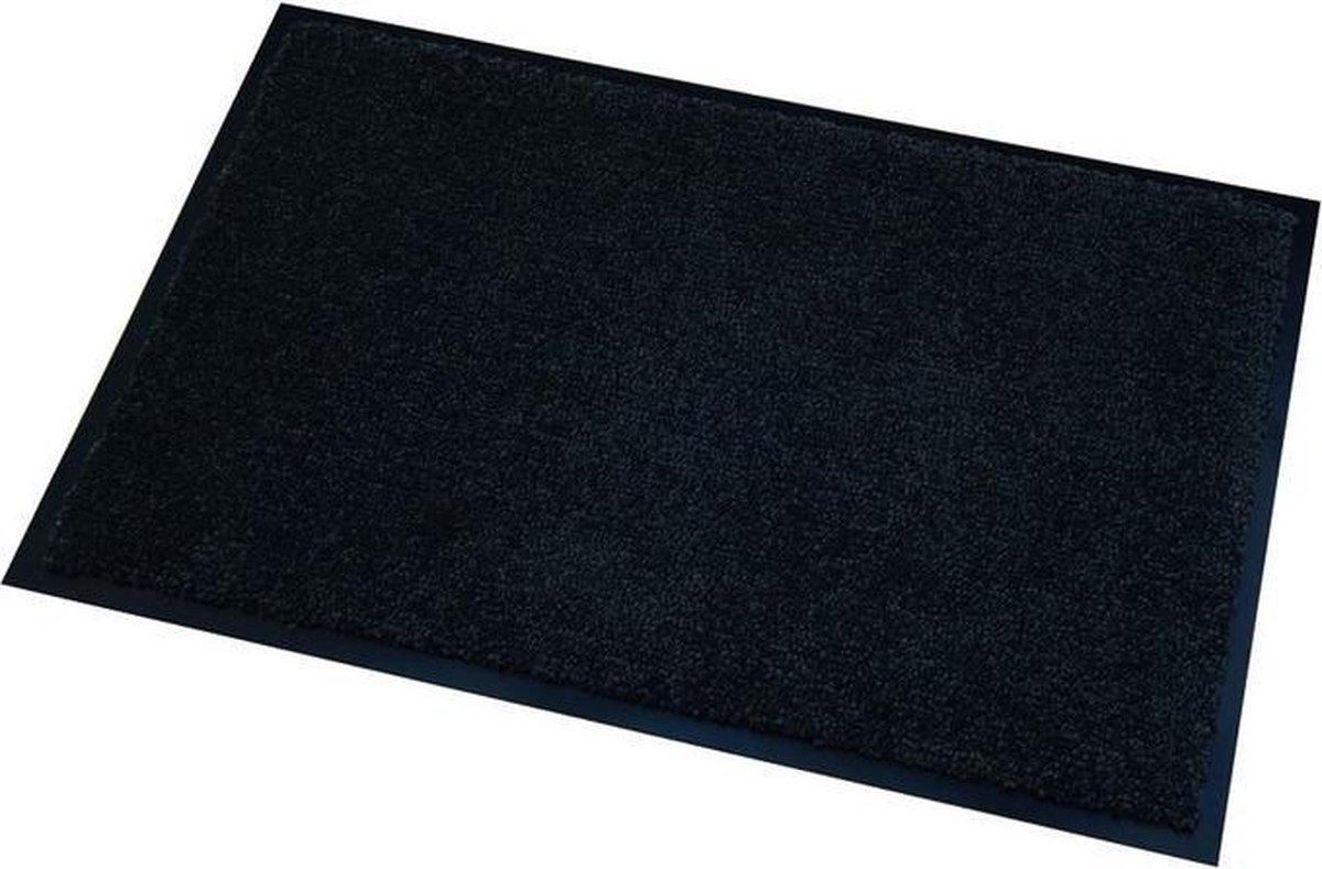 Deurmat/droogloopmat Memphis zwart 40 x 60 cm - Schoonloopmat - Inloopmat