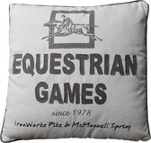 Canvas cushions with nostalgia print paard, 45cm x 45cm Equstrian Games Ivoor/Dark Brown
