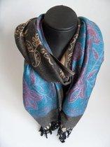 Mooie hippe sjaal bloemen lengte 180 cm breedte 70 cm kleuren bruin beige blauw paars zwart franjes.