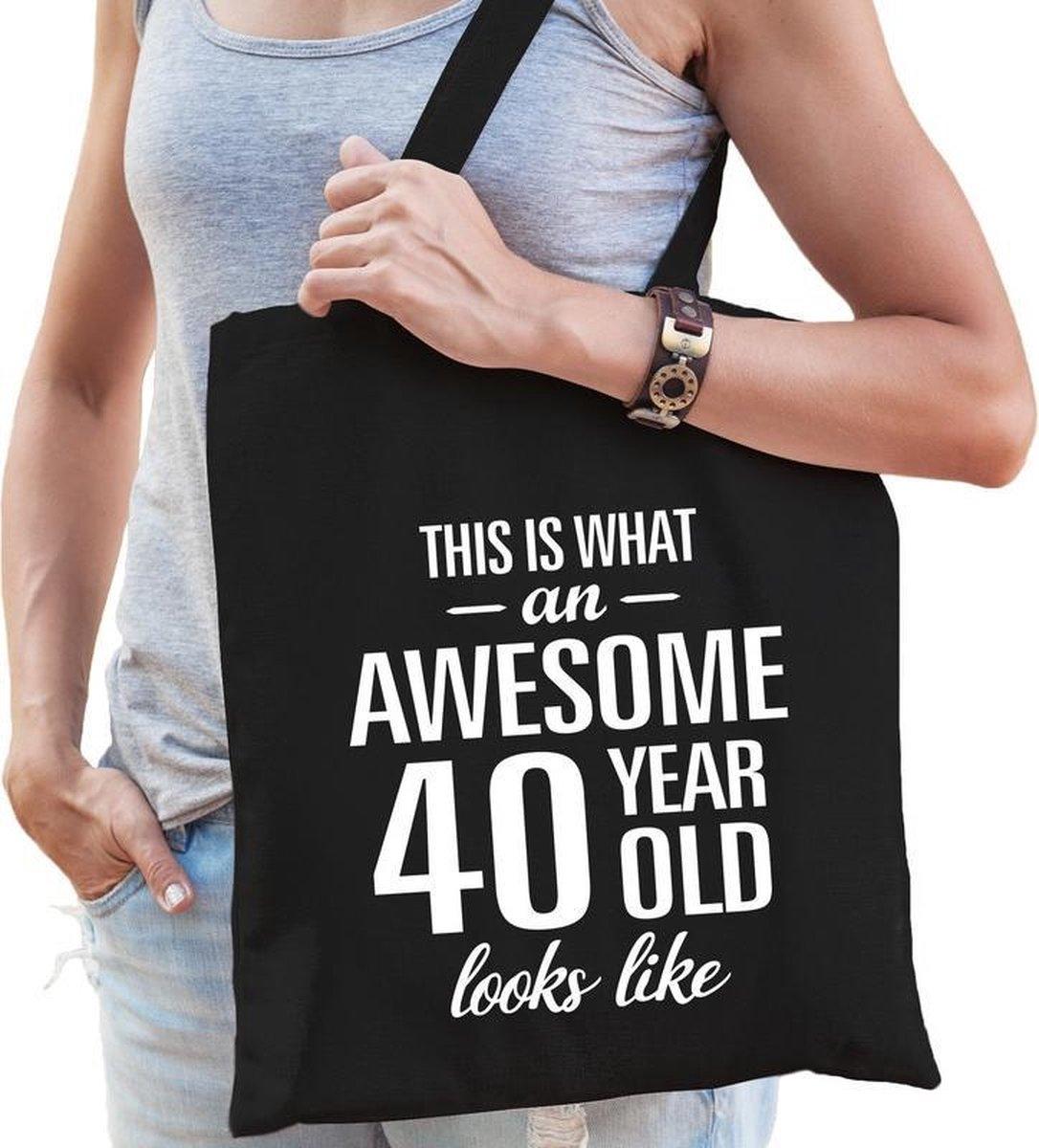 Awesome 40 year / geweldig 40 jaar cadeau tas zwart voor dames - kado tas / verjaardag tasje / shopp