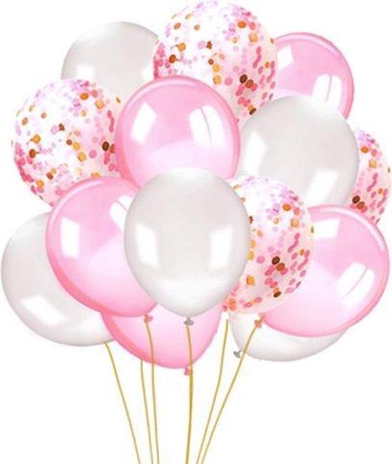 Confetti Ballonnen - Babyshower Versiering Meisje - Roze - Wit - Goud - 15 Stuks