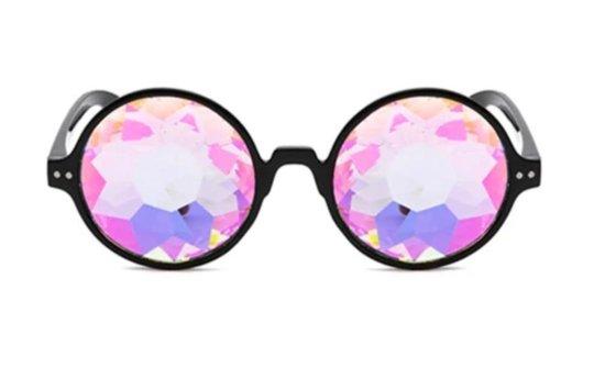 Kaleidoscoop bril met zwart montuur | Festival glas diamant kaleidoscope space caleidoscoop optisch magisch toverkijker holografisch - steampunk carnaval