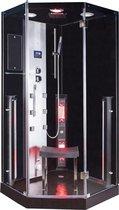 Freya Rustica Infrarood Stoomcabine Spa 1 persoons vijfhoek Black 100x100x215 cm Sauna met mengkraan regendouche massagejets LED-verlichting Bluetooth