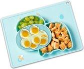 Baby Placemat - Kinderservies - 2 in 1 Antislip Babybord - Siliconen Duurzaam Vaatwasser Bestendig Koe Blauw