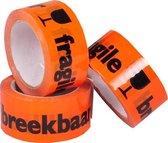 Waarschuwingstape / breekbaar PP tape oranje 48mm x 66 meter - 1 rol