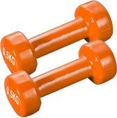 eSam® - TS - Aerobic Dumbbell set 1 kg - (2x 0,5 kg) - Vuist dumbbells - Aerobic Dumbbells - Korte Halterset - gietijzer met kunststof coating - Oranje