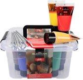 Acryl verf - Start box - inclusief 9 tubes acryl verf en 6 kwasten