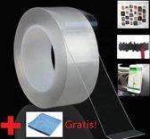 Nano tape - Gekko tape - 3M - INCL MICROVEZELDOEKJE - dubbelzijdig plakband - Herbruikbaar- Ideale oplossing!
