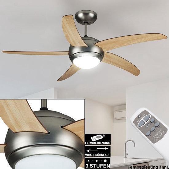 Stille Plafondventilator - LED Verlichting - Bruin/ Grenen - Afstandbediening