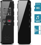 LifeGoods Digitale Voice Recorder - USB Oplaadbaar - 8GB Interne Opslag - Klein en Compact Mini Formaat - Audio in MP3 of WAV met Ruisonderdrukking - Draadloze Memo Recorder - Zwart