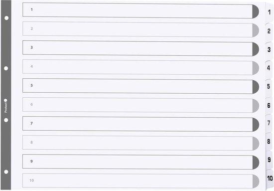 10x Bedrukte tabbladen karton 160g - geplastificeerde tabs - 10 tabs - 1 tot 10 - A3, Wit