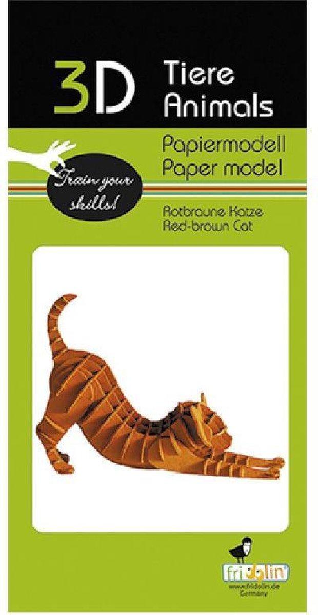 3D puzzel en bouwpakket roodbruine kat van karton