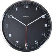 NeXtime Company - Klok -  Stil Uurwerk - Rond - Aluminium - Ø35 cm - Zwart