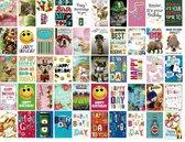 50 Luxe Wenskaarten - Happy Birthday Assorti - Verjaardag / Felicitatie - 12x17cm - Gevouwen kaarten met enveloppen