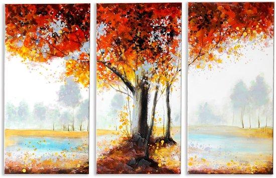Bol Com Canvas Schilderijen Muurdecoratie Woonkamer Handgeschilderd 3 Luik Autumn Leaves