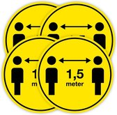 Set van 4 Corona vloerstickers 1,5 meter afstand houden ø 30 cm.