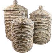 Fair Trade kaisagras mandenset (3 stuks)  wit  - met deksel