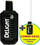 Delight Zonnebankcrèmes COMBI DEAL; Delight Exclusive Tanning Milk UV-intensive (200ml) + Zonnebank Tanning Milk (50ml)