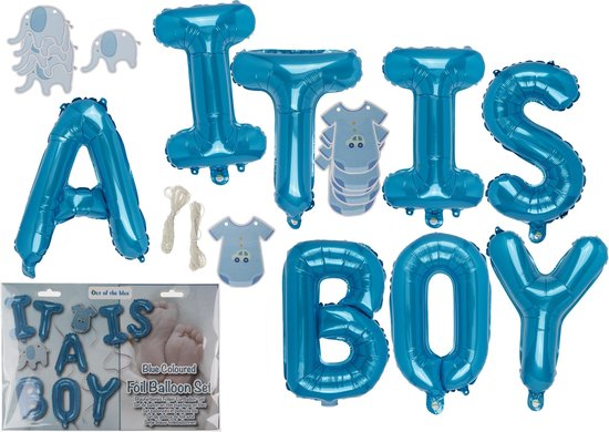 folie ballonnen set IT IS A BOY blauw jongen decoratie babyshower geboorte zoon
