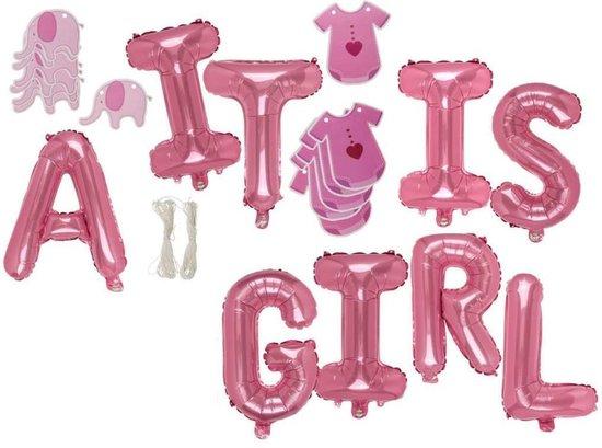 Folie ballonnen set IT IS A GIRL roze meisje decoratie babyshower geboorte dochter versiering
