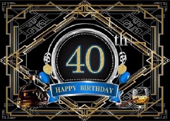 Verjaardag - Versiering - Wanddoek - Banner van Polyester - 120cm (Breed) x 80cm (Hoog) - Man - 40 jaar - Whiskyglas - Sigaar