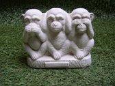 Tuinbeeld apen horen/ zien/ zwijgen - decoratie voor binnen/buiten - beton
