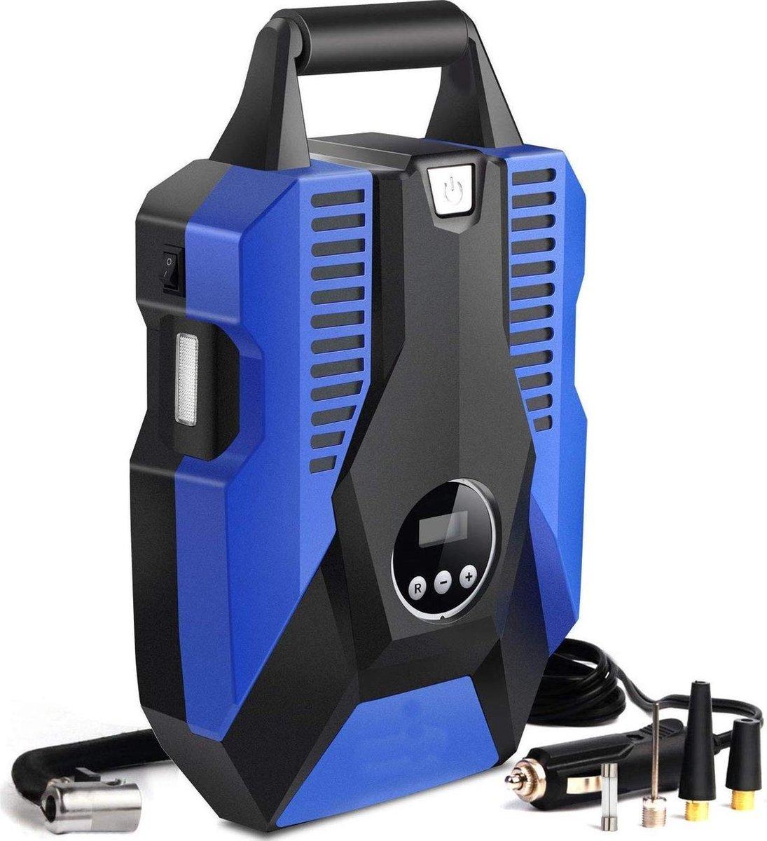 LifeGoods 12V Elektrische Compressor en Bandenpomp - 10,3 Bar    35L/min - Blauw
