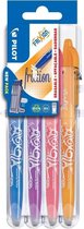 Pilot FriXion - Rollerball pennenset - Sky Blauw / Paars/Koraal/Abrikoos Oranje - per 4 verpakt.