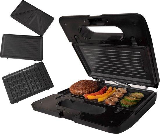 Tomado TGM2001S - multigrill 3-in-1 - inclusief tosti en wafelplaten - zwart/rvs - 750 watt
