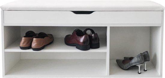 Schoenenkast hal bankje met opbergruimte - schoenenrek - met zitkussen wit