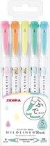 Zebra Mildliner Twin Tip Highlighters Brush - Brush / Extra Fine – Pastel Color Set van 5 in een  Zipperbag