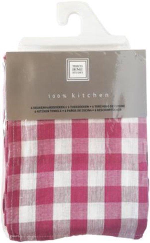 Set van 6 keukenhanddoeken Rosé 50x70cm