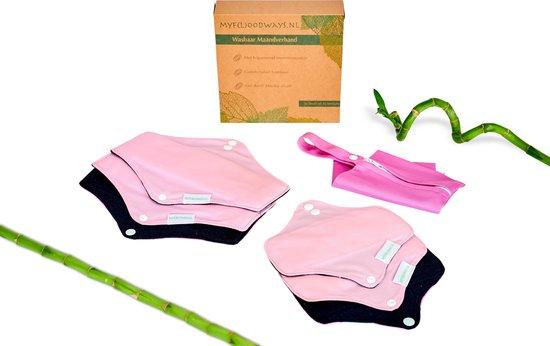 Set van 6: Bamboe wasbaar maandverband/Wasbare inlegkruisjes (ROZE) met bijpassend tasje - 3x Medium en 3x Small - Plasticvrij verpakt! Herbruikbaar maandverband