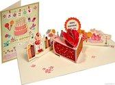 Popcards popupkaarten - Feestelijke kleurige verjaardagstaart Verjaardagskaart taart cake Happy Birthday pop-up kaart 3D wenskaart