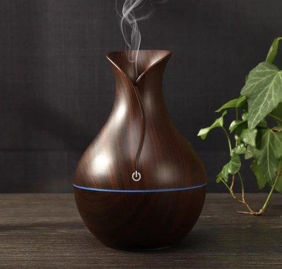Aroma Diffuser - Luchtbevochtiger Aroma Therapie + NEUTRIHERBS Olie 10 ML - Vernevelaar – Verstuiver – Donkerbruin
