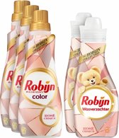 Robijn Wasmiddel Color Rosé Chique pakket - Wasmiddel & Wasverzachter - 5 stuks